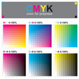CMYK color swatch chart - subtractive color model