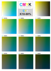 CMYK color swatch chart - Cyan and Yellow