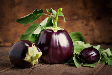 Composition with Three Eggplants on the wooden background, still