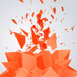 3D Orange Mesh Background with Star for Your Business