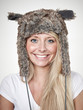 canvas print picture - Nice lady with beaver-fur hat