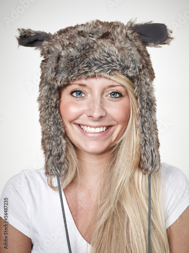 canvas print picture Nice lady with beaver-fur hat