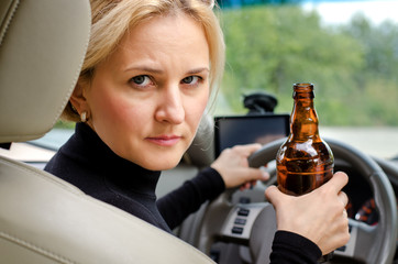 Aggressive drunk woman driver