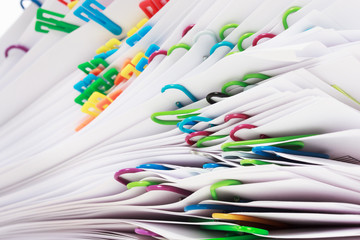 Stack of documents with clips