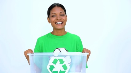 Ecological woman holding recycling bin