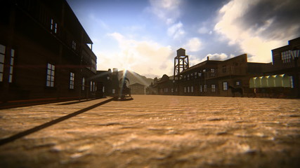 Crossing the main street of a small town in the old west