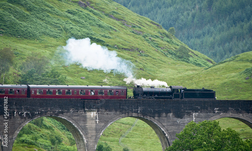 Steam train crossing glenfinnan viaduct