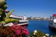 Long Beach California skyline from flowers port