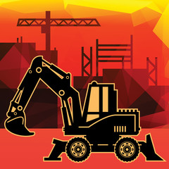 Excavator on abstract background, vector illustration