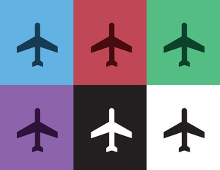 Airplane silhouette in different colors