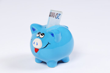 blaues Sparschwein mit 20 Euro Schein