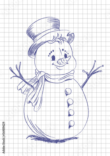 hand drawn snowmen on the notebook list