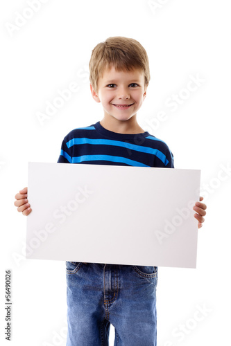 Boy standing with empty blank