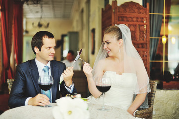 fight for fun between groom and bride