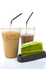 Iced coffee, iced cocoa and green tea cake