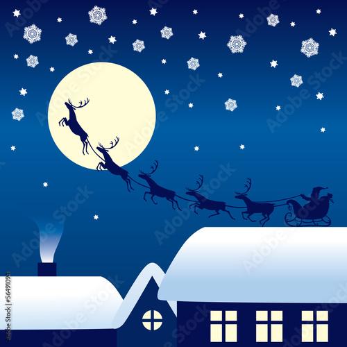 Santa Claus riding on a reindeer sleigh