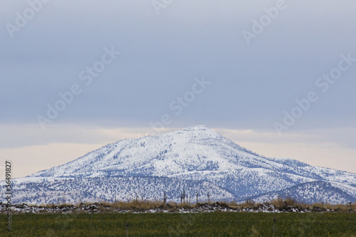 A snowy mountain with green fields below