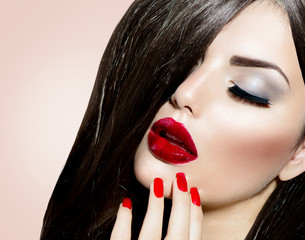 Sexy Beauty Girl with Red Lips and Nails. Provocative Make up