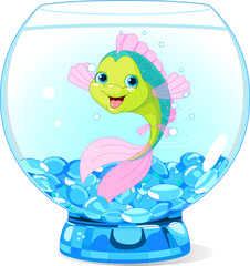 Cute Cartoon Fish in Aquarium