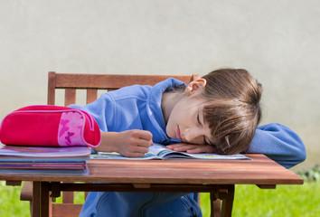 Girl is asleep over book