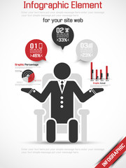 INFOGRAPHIC MAN BUSINESS RANKING 2 RED