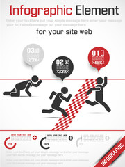 INFOGRAPHICS MDERN ICON MAN RANKING RACE RED