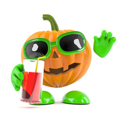 Pumpkin relaxes with a drink