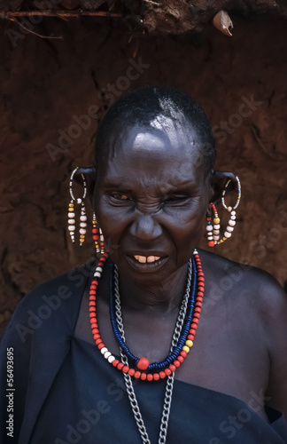 Kenya, Tsavo East National Park, Masai old woman