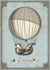 vintage card with hot air balloon