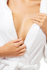 Close up on woman breast after bath.