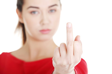 Woman with middle finger up