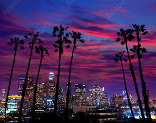 Fotobehang Los Angeles Downtown LA night Los Angeles sunset skyline California