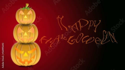 Flickering Candlelights in Carved Pumpkins with Happy Halloween