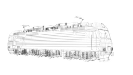 3d  wire frame locomotive model isolated on white background