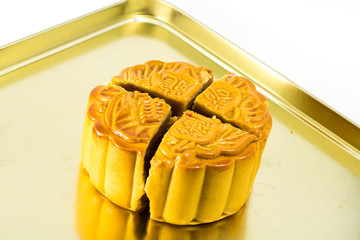 Moon cake on gold plate