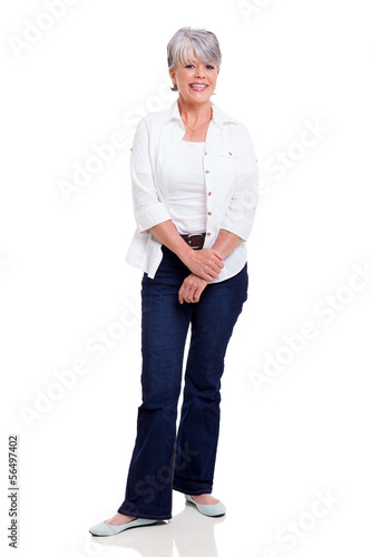 senior woman posing on white background