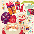 Cartoon funny Santa Claus with snowman