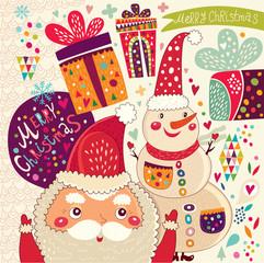 Cartoon funny Santa Claus with snowman