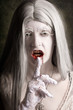 Silent evil white vampire woman. Monster secret