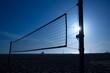 beach voley net in Santa Monica at sunset California