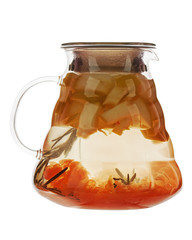 Fruity apple tea in teapot isolated on white background.