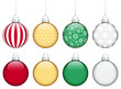 Collection Of 8 Christmas Balls Traditonal