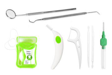 Zahnpflege mit Bürsten u.a., dental hygiene