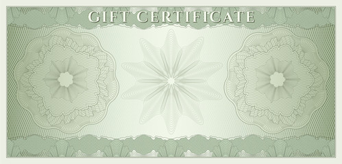 Voucher, Gift certificate, Coupon, Money. Guilloche pattern