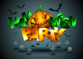 Vector Halloween Party Background with Pumpkin