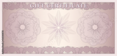 Voucher, Gift certificate, Currency, Money. Guilloche pattern