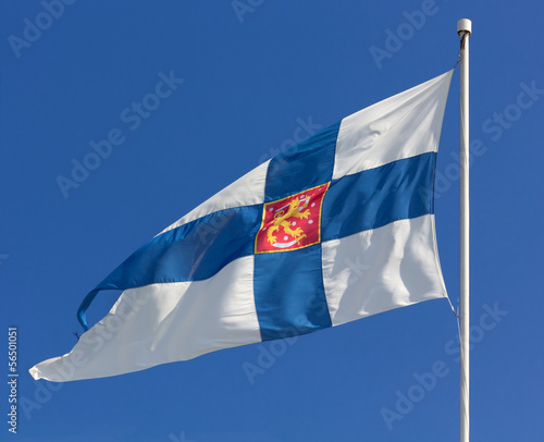Finnish State Flag with Coat of Arms