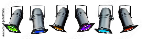 Isolated colored theatrical lights or stage spotlights