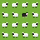 Green seamless pattern with sheep