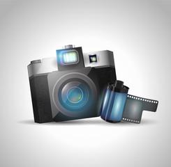 Camera and film, vector illustration